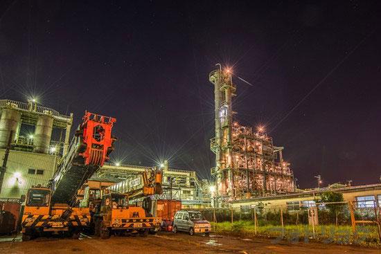 超広角で撮った工場夜景