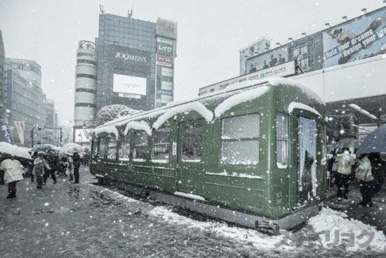 渋谷みどり電車大雪