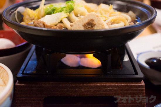 すき家の牛すき鍋定食の火
