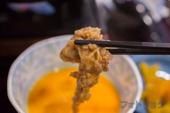 すき焼きの牛すき鍋定食をたまごに投入