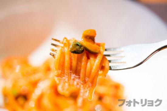 トマトパスタのアップ